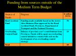 funding from sources outside of the medium term budget