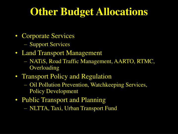 Other Budget Allocations