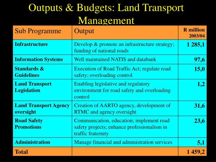 Outputs & Budgets: Land Transport Management