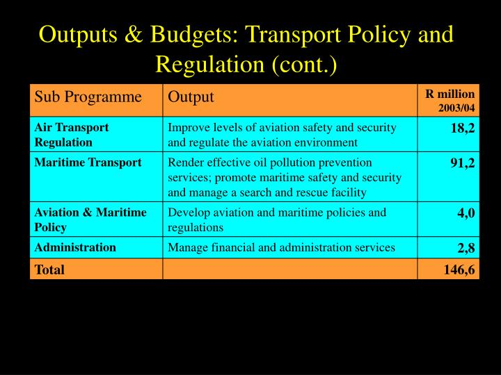 Outputs & Budgets: Transport Policy and Regulation (cont.)