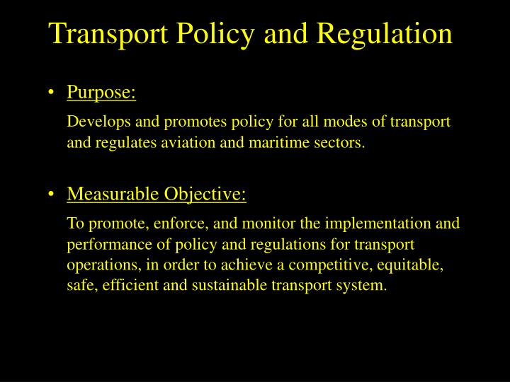 Transport Policy and Regulation