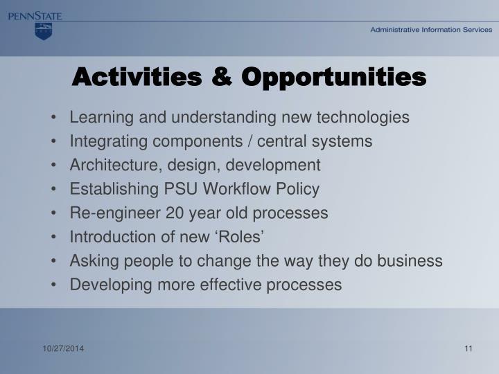 Activities & Opportunities