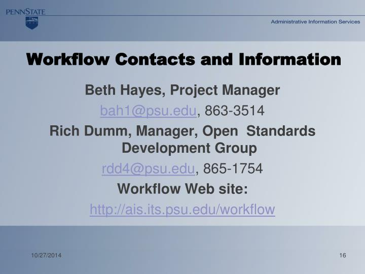 Workflow Contacts and Information