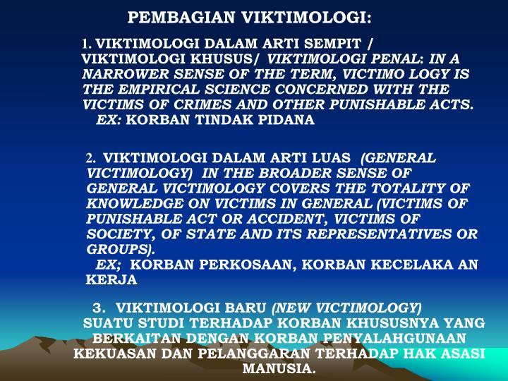PEMBAGIAN VIKTIMOLOGI: