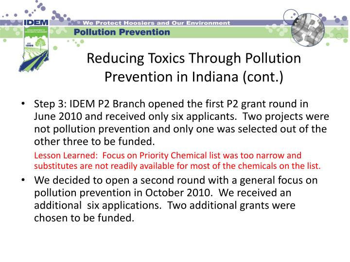 Reducing toxics through pollution prevention in indiana cont