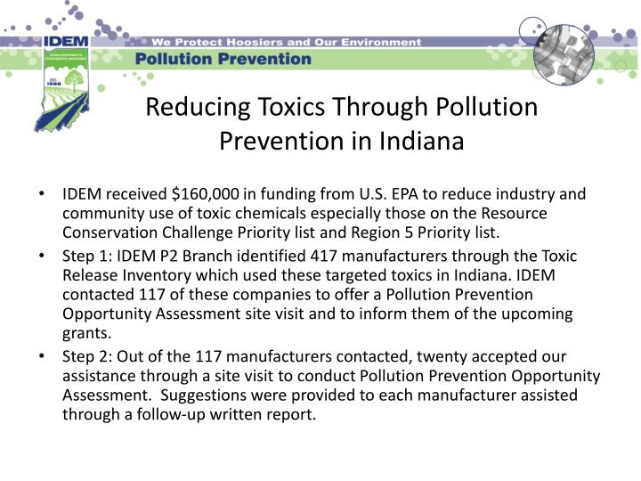 Reducing toxics through pollution prevention in indiana