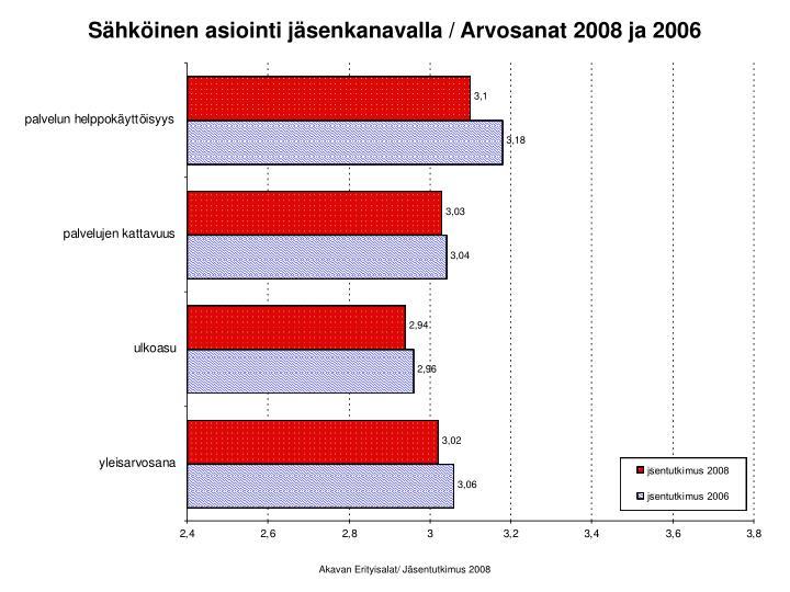 Sähköinen asiointi jäsenkanavalla / Arvosanat 2008 ja 2006