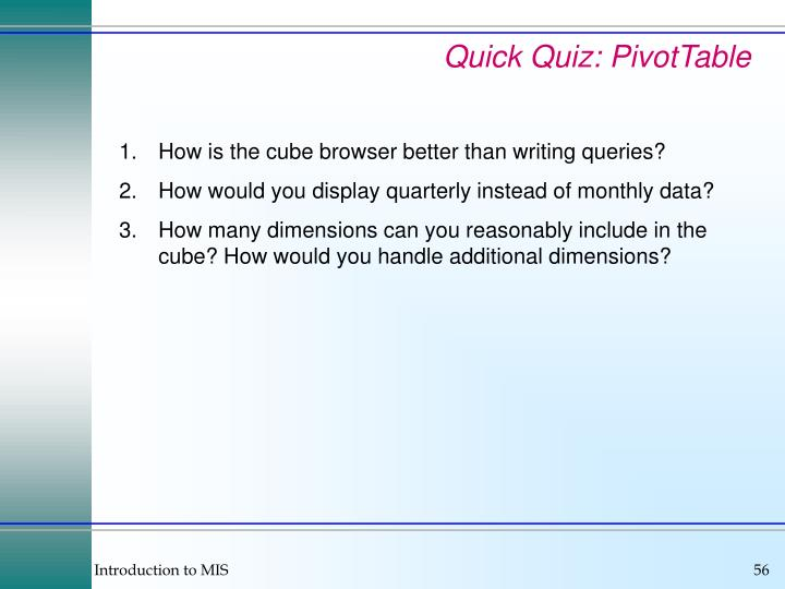 Quick Quiz: PivotTable