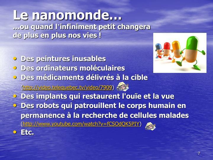 Le nanomonde…