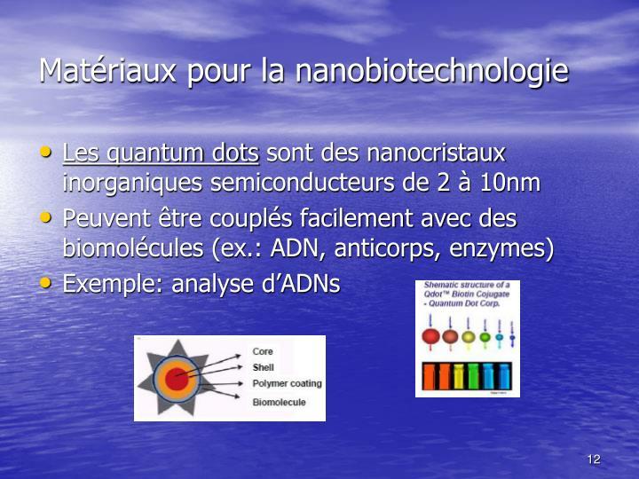 Matériaux pour la nanobiotechnologie