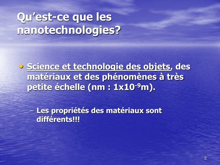 Science et technologie des objets