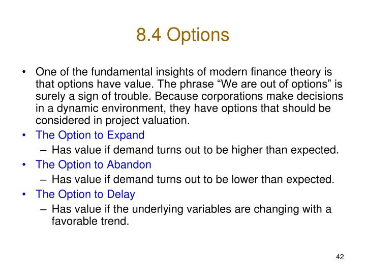 8.4 Options