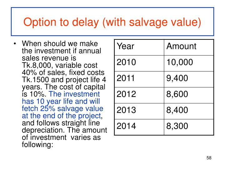 Option to delay (with salvage value)