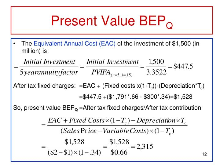 Present Value BEP