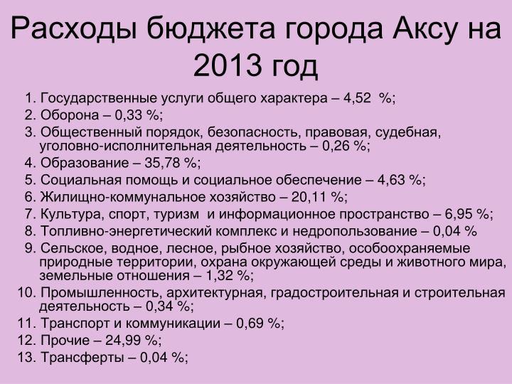 Расходы бюджета города Аксу на 2013 год
