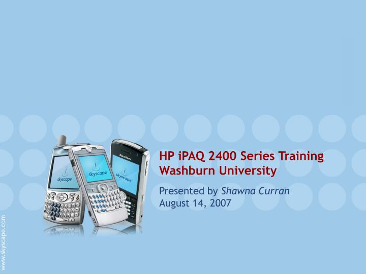 HP iPAQ 2400 Series Training