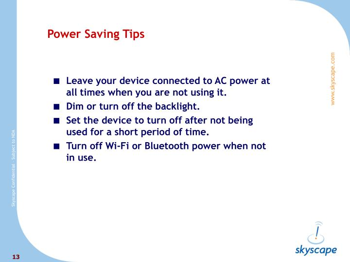 Power Saving Tips