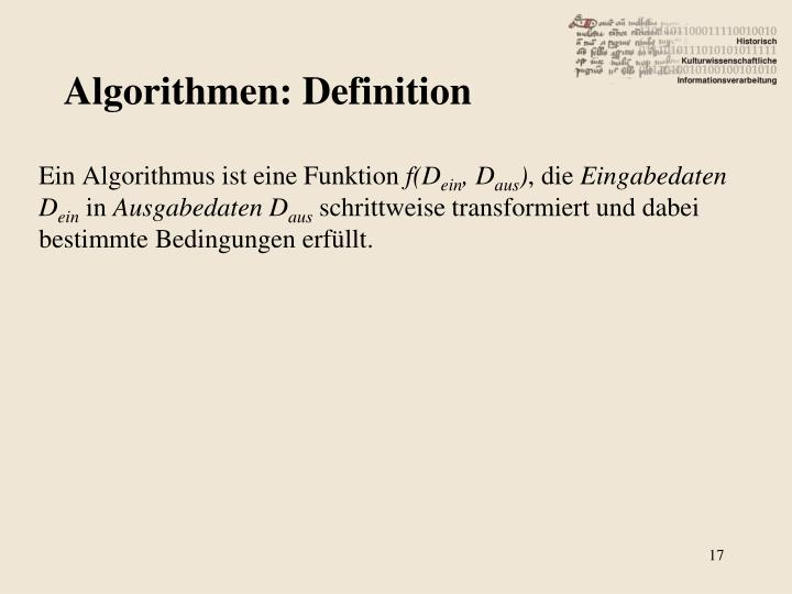 Algorithmen: Definition