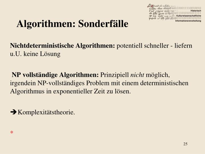 Algorithmen: Sonderfälle