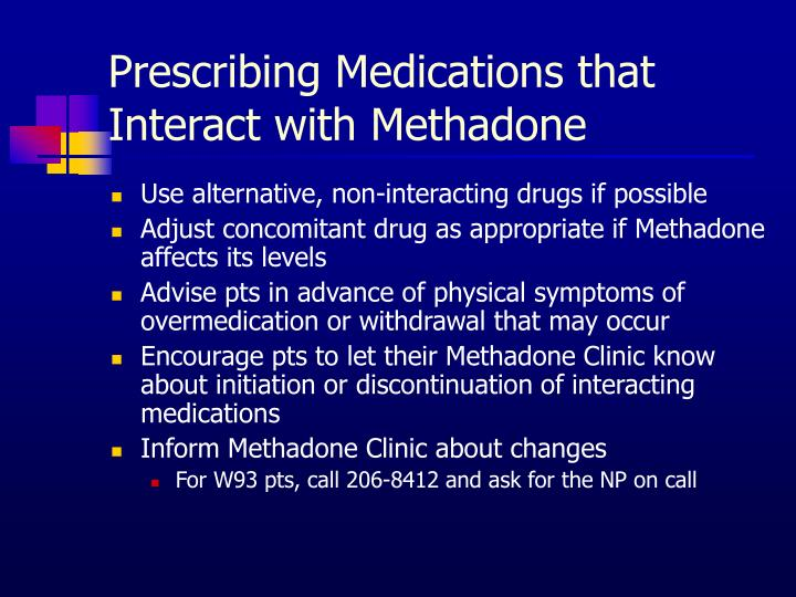 Prescribing Medications that Interact with Methadone