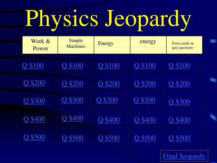 Physics jeopardy