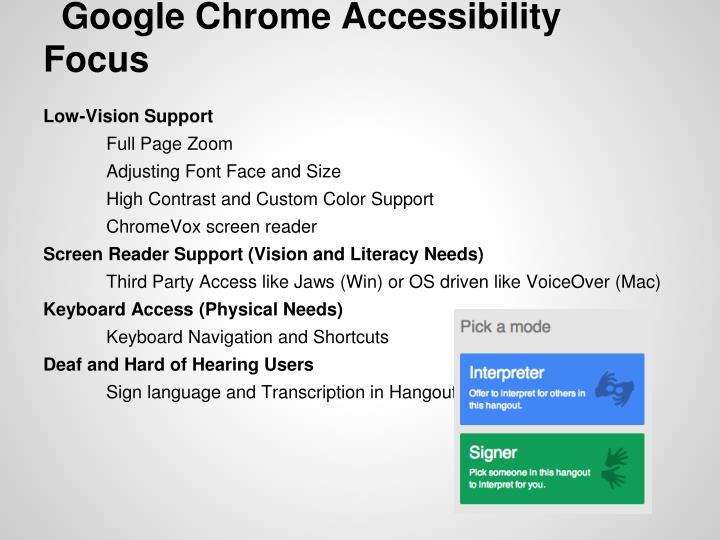 Google Chrome Accessibility Focus
