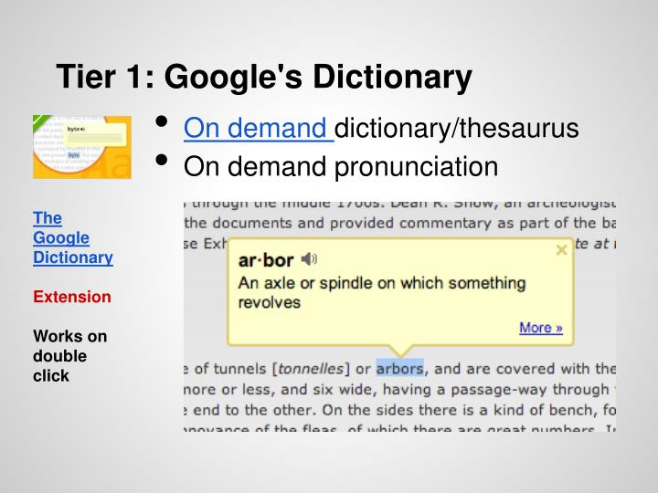 Tier 1: Google's Dictionary