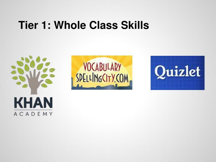 Tier 1: Whole Class Skills