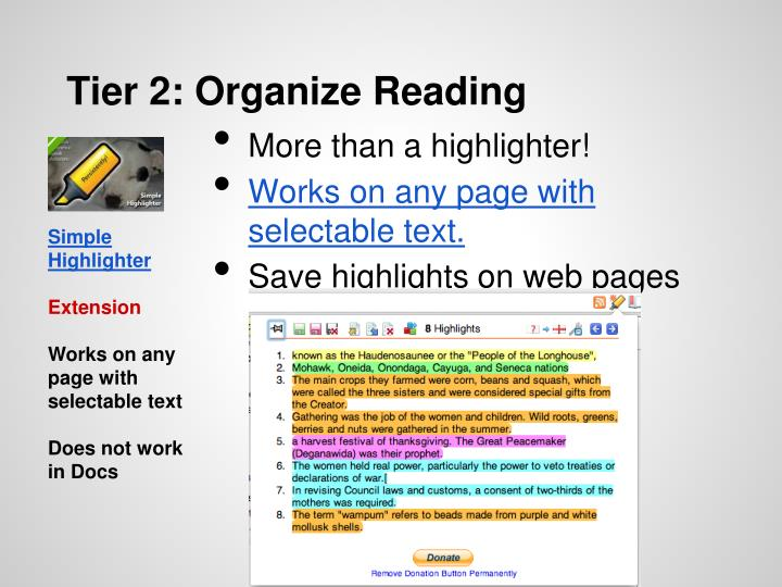 Tier 2: Organize Reading
