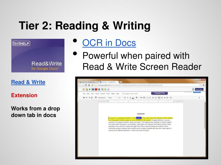 Tier 2: Reading & Writing