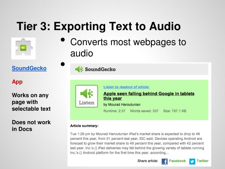 Tier 3: Exporting Text to Audio