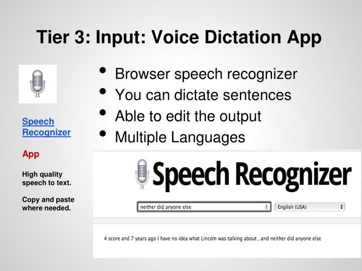 Tier 3: Input: Voice Dictation App