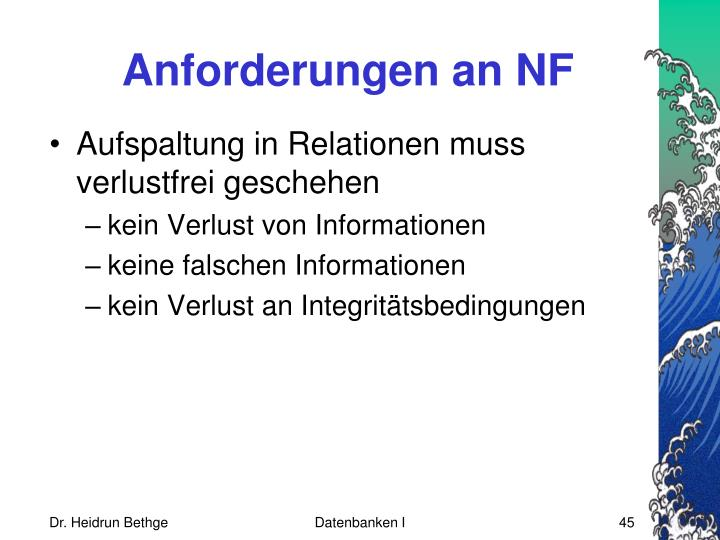 Anforderungen an NF