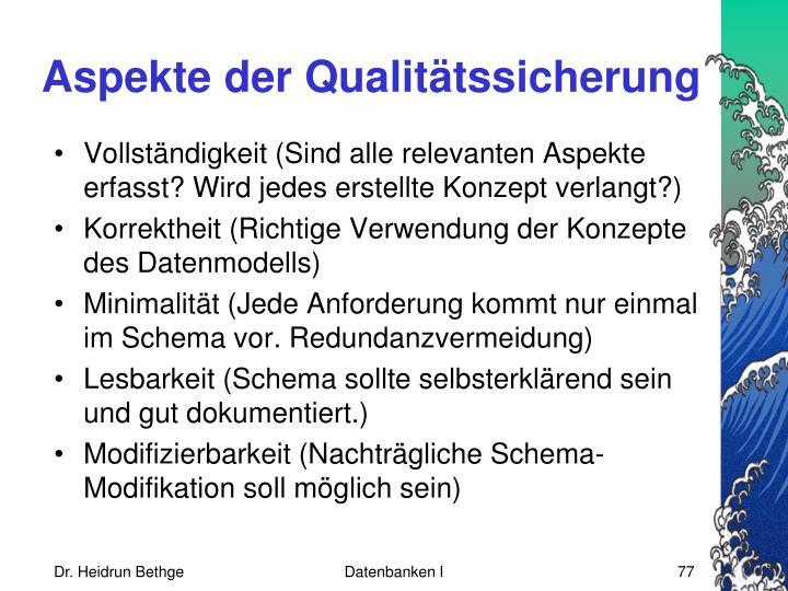 Aspekte der Qualitätssicherung