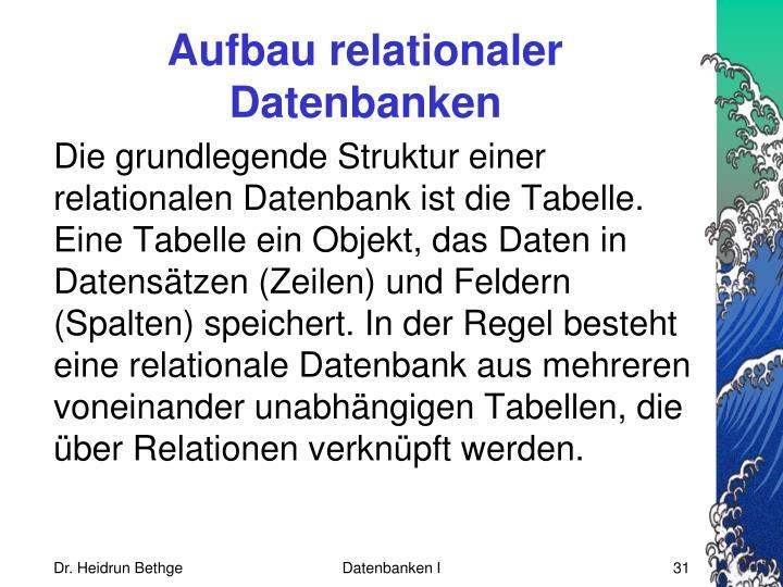 Aufbau relationaler Datenbanken