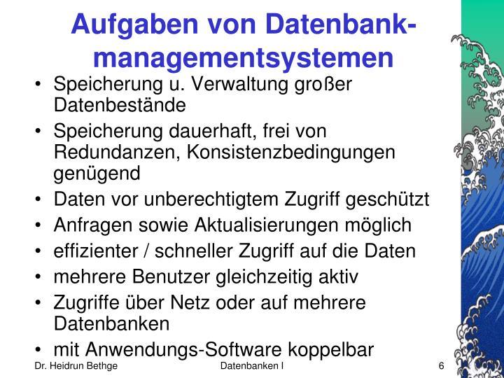Aufgaben von Datenbank-managementsystemen