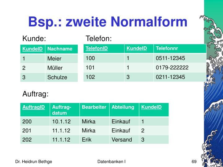 Bsp.: zweite Normalform