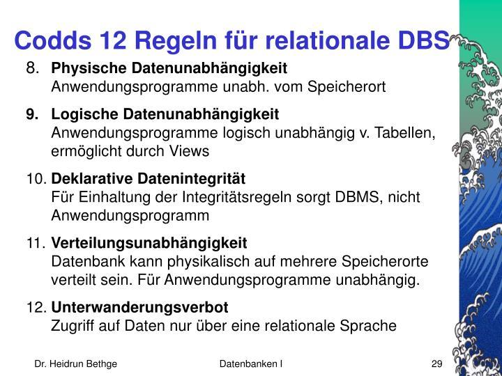 Codds 12 Regeln für relationale DBS