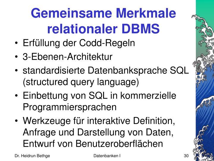 Gemeinsame Merkmale relationaler DBMS