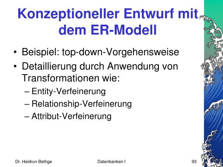 Konzeptioneller Entwurf mit dem ER-Modell