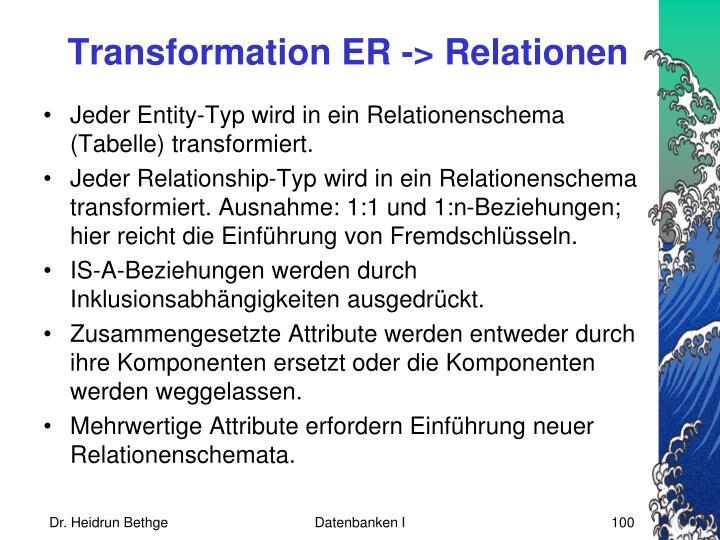 Transformation ER -> Relationen