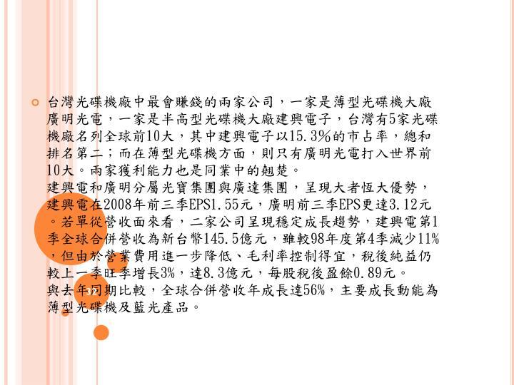 台灣光碟機廠中最會賺錢的兩家公司,一家是薄型光碟機大廠廣明光電,一家是半高型光碟機大廠建興電子,台灣有