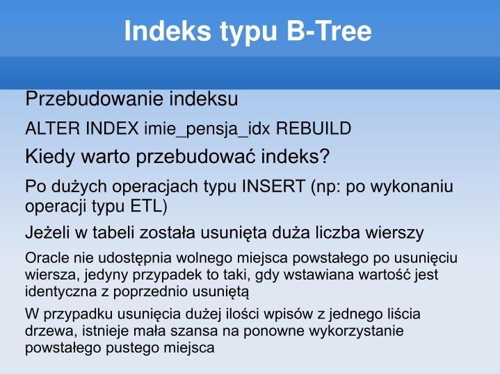 Indeks typu B-Tree