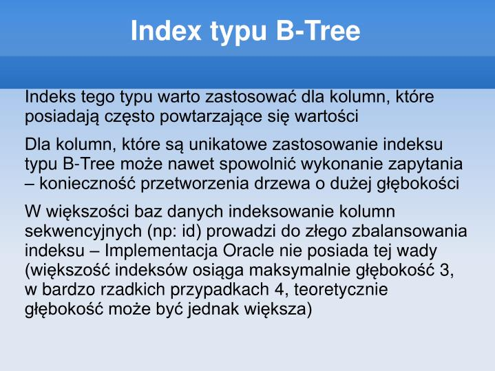 Index typu B-Tree
