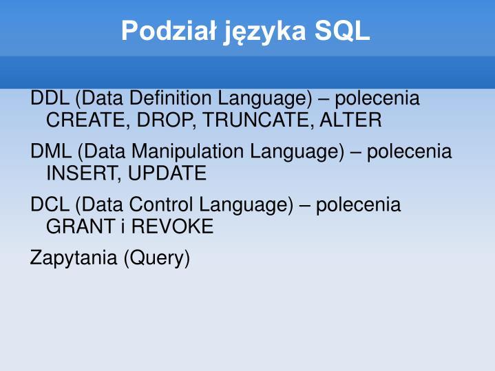 Podział języka SQL