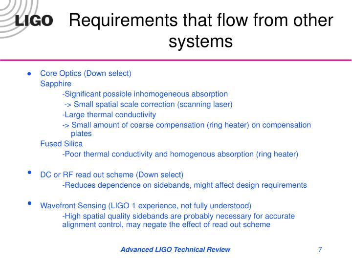 Requirements that flow from other systems