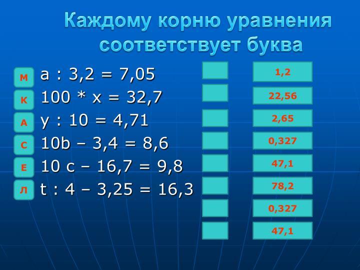 Каждому корню уравнения