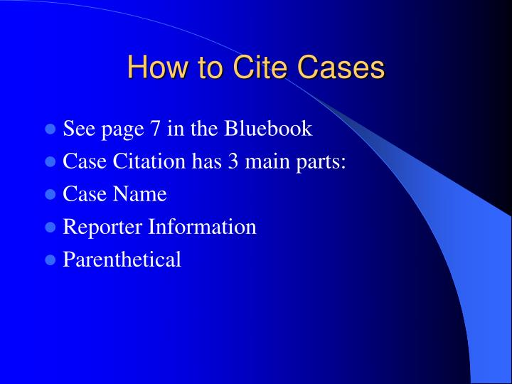 bluebook citation for reports Follow general mla citation rules where permissible  when citing legal  references, check the blue book: a uniform system  consequences of  involuntary exposure to tobacco smoke : a report of the surgeon general.