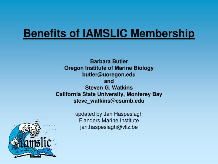 Benefits of iamslic membership