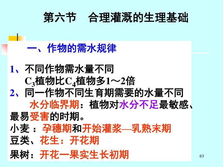 第六节    合理灌溉的生理基础